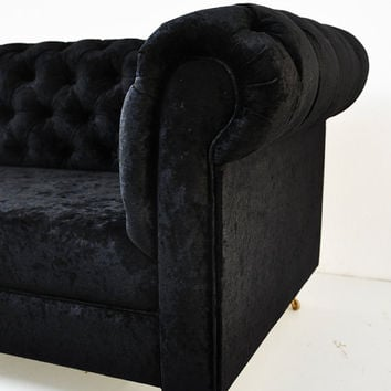black velvet chesterfield sofa