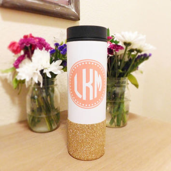Circular Custom Monogram, Stainless Steel To-Go Coffee Tumbler, Personalized Tumbler, Customizable Glitter Tumbler, Glitter Embellished To-G