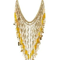 Dangling Beaded Fringe Necklace by Charlotte Russe