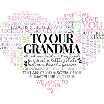 Personalized Grandma Heart Word Art. Unique Mother's Day gift.