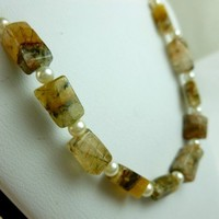Tourmalated Golden Quartz with White Glass Pearls Set of 10 Grade D