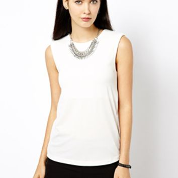 Warehouse Shoulder Pad Shell Top - Cream