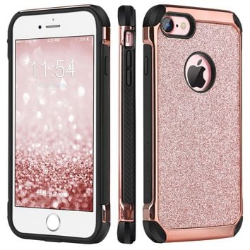 iPhone 8 Case, iPhone 7 Case, BENTOBEN Sparkly Glitter Luxury 2 in 1 Slim Hybrid Hard PC Cover Laminated with Shiny Faux Leather Chrome Protective Case for iPhone 7/8 (4.7 inch), Rose Gold & Black