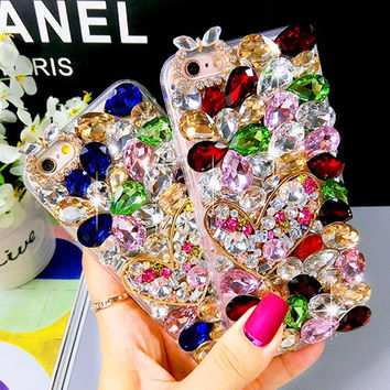 Heart Crystal Phone Case for iPhone 7 7s for iphone 7 7s plus for iphone6 6s plus, for galaxy S6 S7 and more