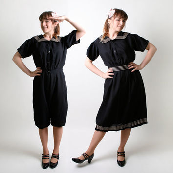 Vintage Sailor Romper 1920s style Black 2Piece Swim by zwzzy