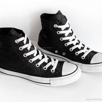 Black glitter Converse All Stars, black high tops, geometric pattern, vintage sneakers, ankle boots. Size 37.5 (UK 5, US Wo's 7, US Mens 5)