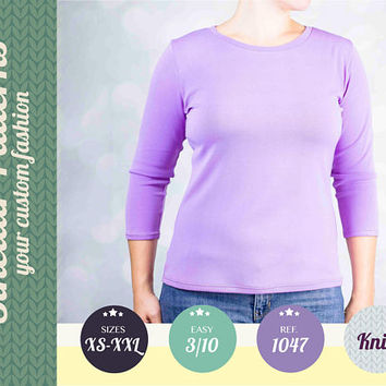 Knit t-shirt tee for women pdf sewing pattern with step by step sewing tutorial (easy/beginners) XS-XXL plus size