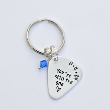 Hand Stamped Anniversary Gift - Personalized KeyChain - Guitar Pick Key Chain- Personalized Pick - 1st Anniversary Gift For Men