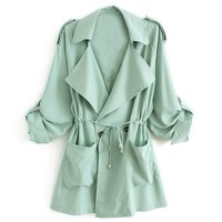 Notched Collar Safari Jacket With Drawstring Waist