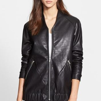 Women's Veda 'Theo' Oversize Leather Bomber Jacket