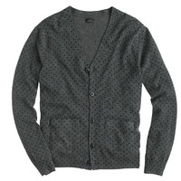 J.Crew Mens Italian Cashmere V-Neck Cardigan Sweater In Dot