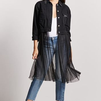 Pierced Mesh-Panel Denim Jacket