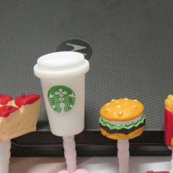 Cute 4pcs sets Simulated Hamburger cups cake chips Phone Dust Plug Cell Phone Accessories For Phone 3.5mm Earphone Jack Plug