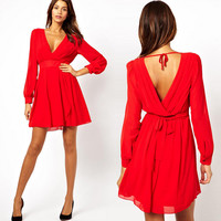 XS-XXL 6 Size Women's Dress Spring Summer Sexy V Neck Chiffon Dress Long Sleeve Casual Dresses for Women Black White Red