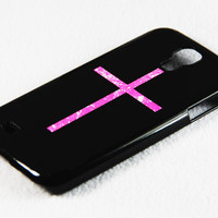 Stylish Pink And Black Latin Cross Galaxy S4 Rubber Case Samsung Galaxy S4 + S3 Rubber Case and S2 NOTE 2 Hard Cover Case