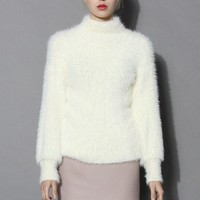 Fluffy Chic High Neck Sweater in White
