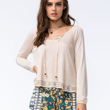 H.I.P. Womens Embroidered Peasant Top | Blouses