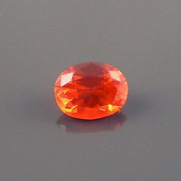 Fire Opal: 0.96ct Cherry Red Oval Shape Gemstone, Loose Natural Hand Made Mexican Faceted Precious Gem, OOAK Cut Crystal Jewelry Supply O27