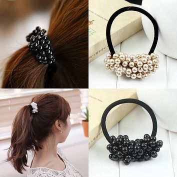 2016 New Fashion Pearls Black Elastics Hair Holders Rubberbands Girl's Women Tie Gum Hot Sale Free Shipping