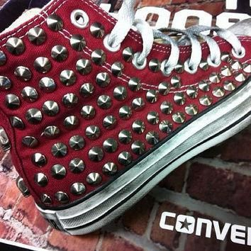 studded converse converse burgundy high top with silver cone rivet studs by customduo