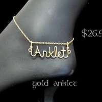 Personalized Script Gold Wire Name Plate Anklet