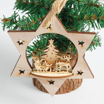 Xmas Decoration Christmas Snowflake Base Wood Embellishments Rustic Christmas Tree Hanging Ornament Decor Enfeites De Natal@T20