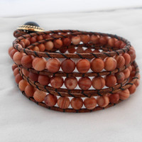 Triple Wrap Leather Wrap Bracelet - Tuscan Orange Jasper Gemstone and Brown Cowhide Leather - Gender Neutral Gifts