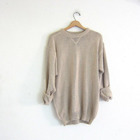 vintage beige sweater. oversized slouchy pullover sweater. men's cotton sweater size large tall