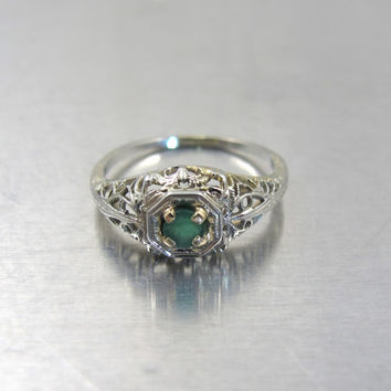 Emerald Engagement Ring, Art Deco 14K White Yellow Gold Filigree Gemstone Solitaire Ring, May Birthstone, Vintage Emerald Ring, Size 6