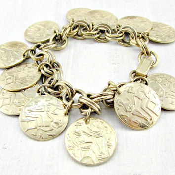 Vintage Egyptian Charm Bracelet, Gold Coin Charm Bracelet, Chunky Gold Chain, 1950s Vintage Costume Jewelry, Egyptian Revival Jewelry