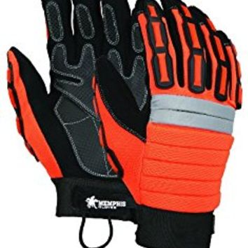 MCR Safety 945XL High Vis Orange Mining Gloves with Reinforced Palm Patches, Black, X-Large, 1-Pair