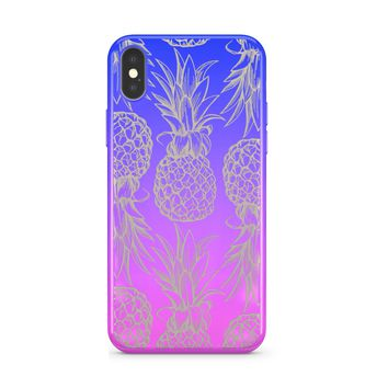 Gradient Chrome Shiny Hawaiian Pineapple iPhone Case