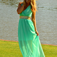 ROMAN GODDESS CHIFFON MAXI DRESS IN MINT