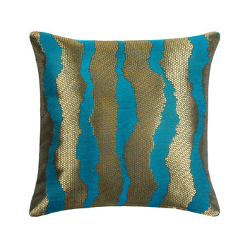 Mazy Turquoise & Gold Stripe Throw Decorative Pillow Cover