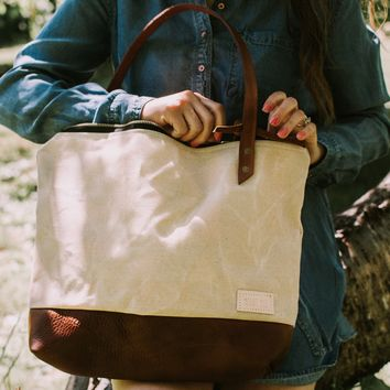 The Cascade Tote in Waxed Canvas and Leather