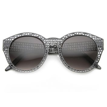 Unique Laser Mesh Cut Round Metal Women's Sunglasses 9816