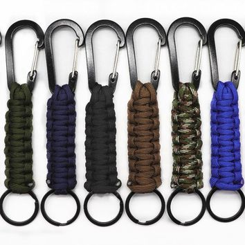 140kg Tensile Strength EDC 1PC Outdoor Survival Kit Parachute Cord Keychain Military Emergency Paracord Rope Carabiner For Keys