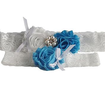 2 Pcs White Lace Wedding Garter Set with Sky Blue Rosettes and Pearl Decoration
