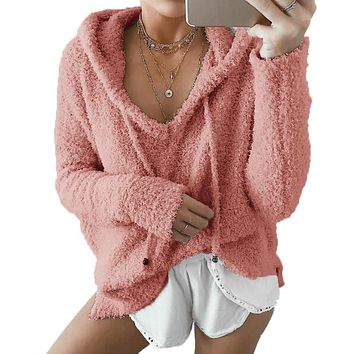 Fur sweater pullovers with hooded