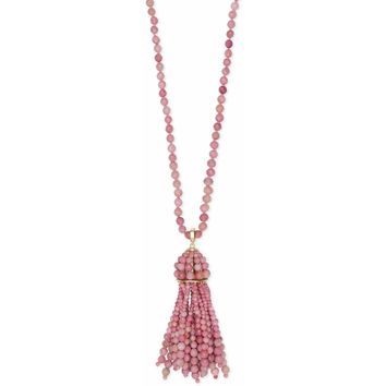 Kendra Scott: Sylvia Gold Long Pendant Necklace In Pink Rhodonite