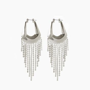 The Faceted Fringe Statement Hoops - Silver