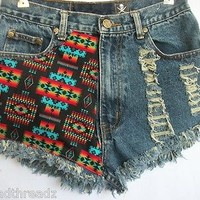 VTG High WAIST CUT OFF AZTEC DENIM FESTIVAL Distressed SHORTS 5/6 28IN.