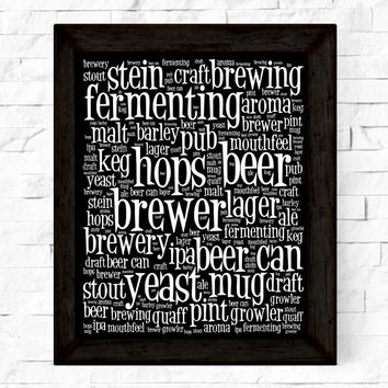 Beer Instant Download Print, Beer Poster, Square Typography, Word Art, Beer Printable, Man Caves, Gifts for Men Wall Art, Wall Decor
