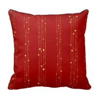 Glam Red and Gold Lines and Circles Throw Pillows