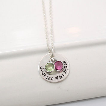 Personalized Hand Stamped Mothers Necklace with Birthstones