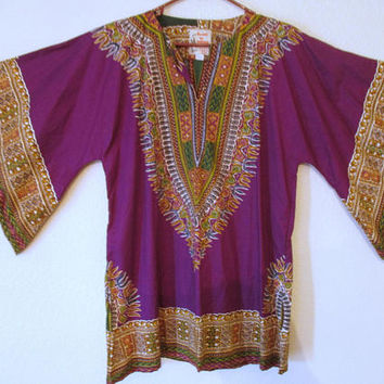 Vintage Hatari Dashiki Tunic Tribal Dress Shirt Plum Purple Size Large
