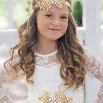 Vivian Ivory & Gold Crystal Jewel Sash & Headband Set