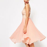ASOS Sheer and Solid Pleated Midi Cami Dress