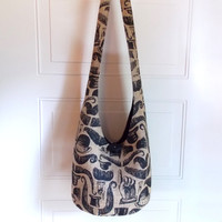 Printed Burlap Hobo Bag, Sling Bag, Jute, Country Chic, Rustic, Mustaches, Hats, Hippie Purse, Crossbody Bag
