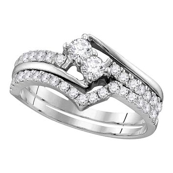 14kt White Gold Women's Round 2-Stone Diamond Hearts Together Bridal Wedding Engagement Ring Band Set 3/4 Cttw - FREE Shipping (US/CAN) (Certified)